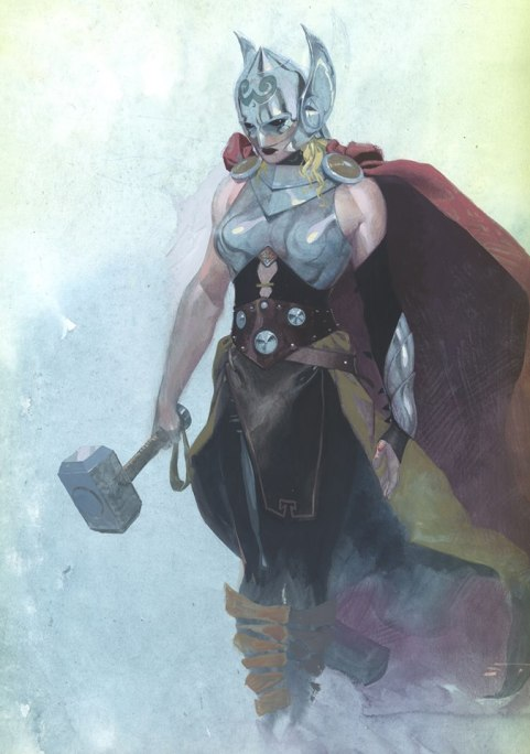 To be honest, I'm surprised nobody has complained about this boob armor yet. Art by Esad Ribic. Image courtesy of Marvel Comics and found at http://aggressivecomix.com/2014/07/thor-is-a-woman-now-marvel-announces/